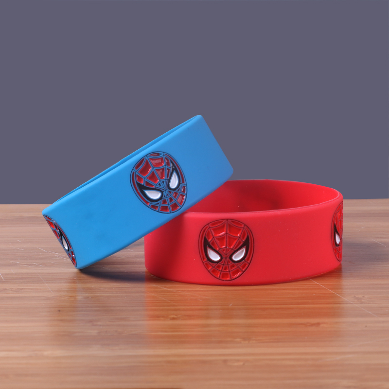 Custom Silicone Wristband Spiderman Bracelet Wide Size Bangles with 2 Colors Choose Spider-Man Rubber Bands