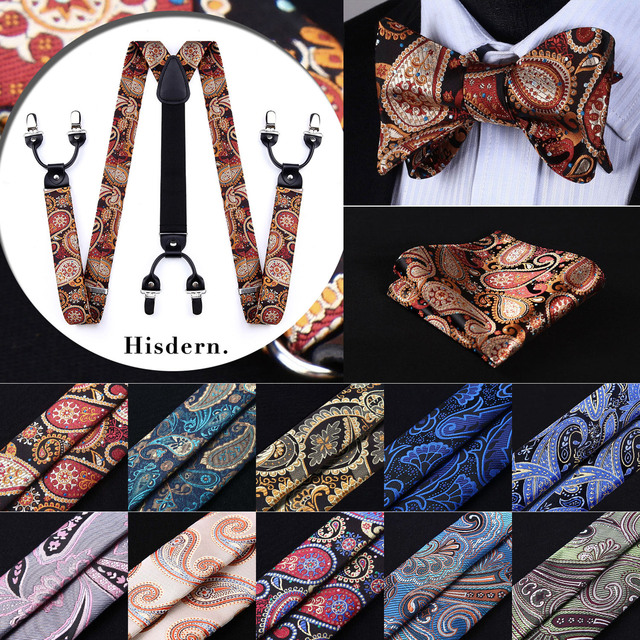 Floral Paisley Various Braces Classic 6 Clips Suspenders  Self Bowtie and Pocket Square Set #S4