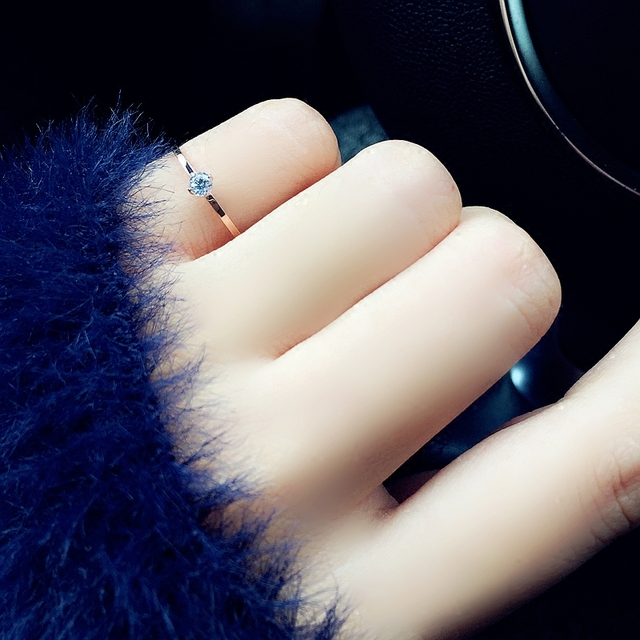 Fine Jewelry Titanuim Steel Rose Gold Color Ring CZ Crystal Ring For Women Couple Finger Rings love Wedding  Size3-9 R101 4