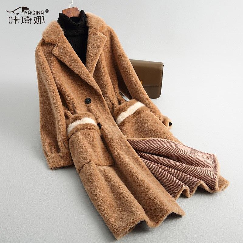 Vison Col Laine Coréenne En Longs 100 Manteaux Vestes My840 Brown Femmes Veste Automne Manteau Daim Doublure Hiver De Réel Fourrure waY0Ppn