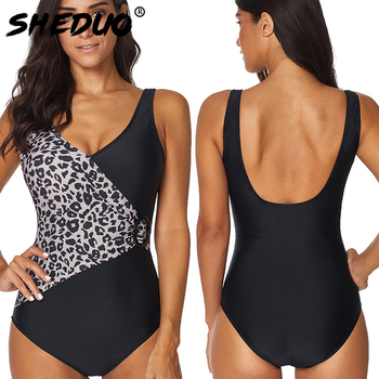 One-piece Plus Size Women Swimwear Leopard Backless Swimsuit Straps Bathing Suit Beach Wear Bodysuits 2019 New 4