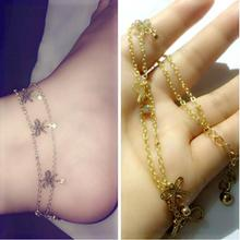 Women's Fashion Chain Ankle Bracelet Gold Plated silver glass imitation Pearls Summer Beach Bow Jewelry Gift Anklets