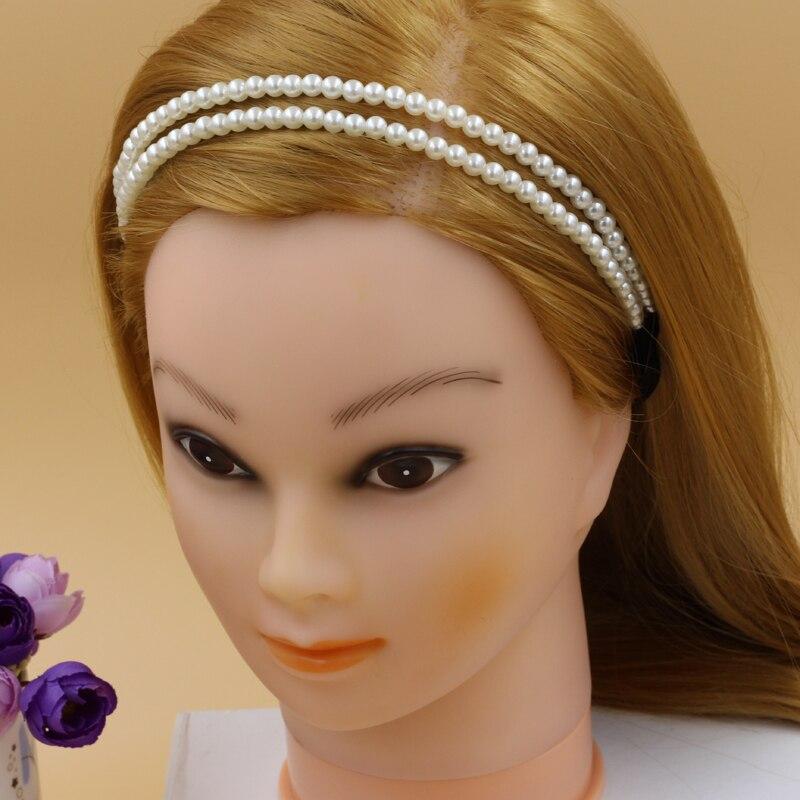 Women Girls Elastic Pearl Headband Hair Hoop Double Lovely Hair Band Headwr