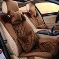 Café pelúcia curto ajuste universal assento de carro cobre inverno 2016 para bmw para benz para nissan K3 capas para carro