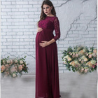 Long Dress Maternity Dress Maternities Photography Props Maternity Long Sleeved Lace Pregnant Women Sexy Loose Trailin