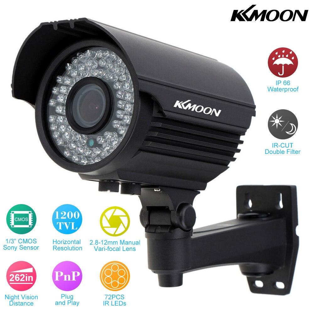 KKmoon 1200TVL C/ámara de Vigilancia 1//3 CMOS IR-CUT CCTV Impermeable Sistema de Seguridad PAL