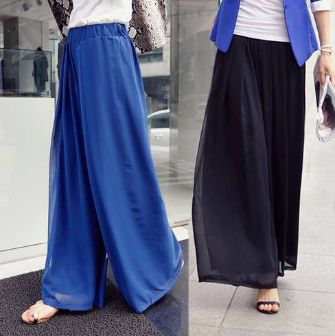 chiffon wide leg dress pants - Pi Pants