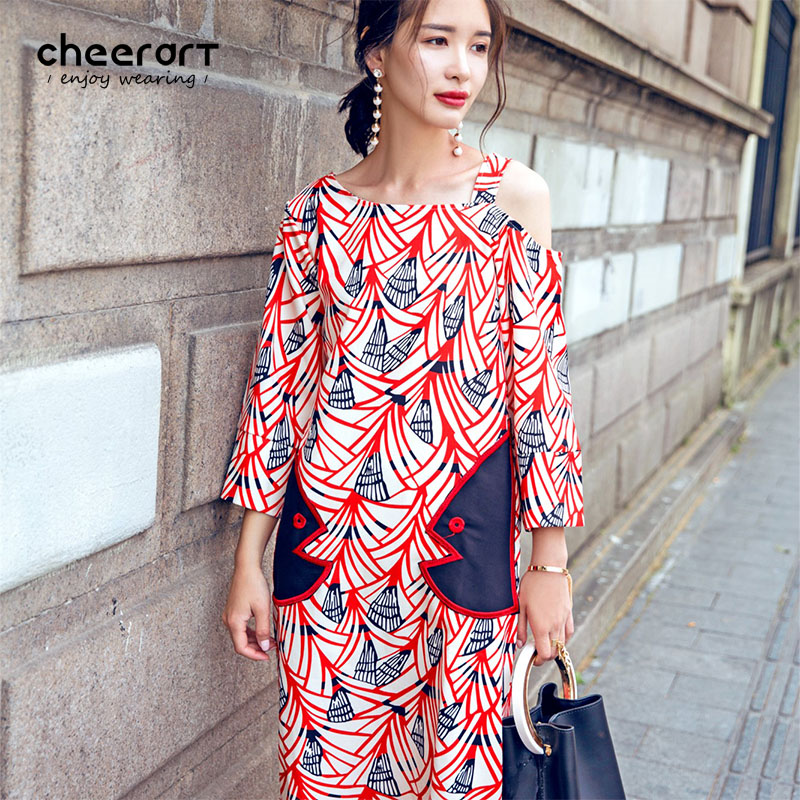 Cheerart Summer One Shoulder Dress Szyfonowa luźne aplikacje Vintage Print Floral Ladies Japanese Korean Fashion Dress 2017
