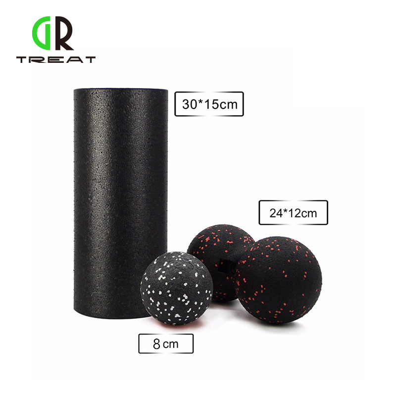 GR Treat Yoga Block EPP Foam Roller& Peanut Massage Ball Set Fitness For Physical Therapy Exercise Muscle Foot/Arm/Back 30cm 15cm electric vibration eva foam roller floating point fitness massage roller 3 speed adjustable for physical therapy