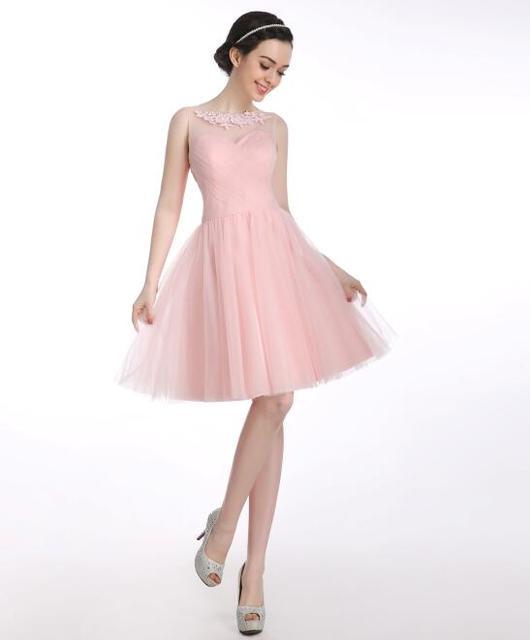 En Stock corto corto vestido de dama de verano de la perla Color ...