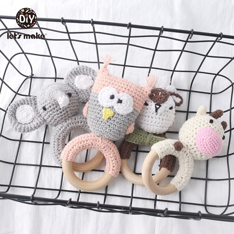 Baby Rattle Crochet Pattern Elephant 1pc With Bell Baby Toys Montessori Teething Rattle Amigurumi Children's Toys Let's Make
