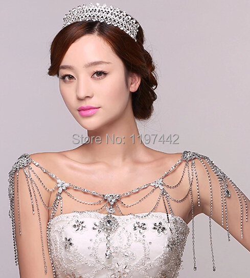 Luxury Crystal Wedding accessories Shoulder Strap Bridal Necklace Romantic Chains Necklaces Love Gift Retro Jewerly Angel Women