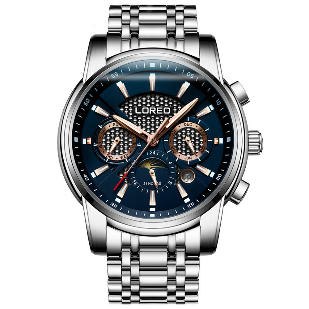 LOREO Mens Sport Multifunction Dial Steel Band Business Automatic Mechanical Wrist Watches with Month,Week,Date,Sun-Moon DialLOREO Mens Sport Multifunction Dial Steel Band Business Automatic Mechanical Wrist Watches with Month,Week,Date,Sun-Moon Dial