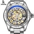 IK colorear oro esqueleto mecánico viento de mano relojes hombres de lujo marca de negocios vestido de plata de acero reloj Relogio