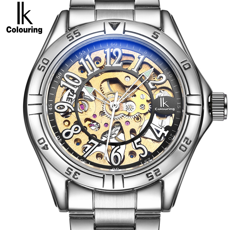 IK colouring Gold Skeleton Mechanical Hand Wind Watches Men Luxury Brand Business Dress Silver Steel Band Watch Clock relogio grado rs2i