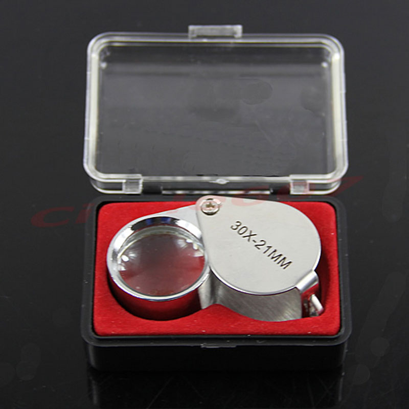 2017 Jewelry Diamond Eye Loupe 30x21mm Magnifier Magnifying Glass Triplet Jeweler Loupe portable handheld 30x 21mm triplet loupe jeweler loupe magnifier w white led lights uv lighting led