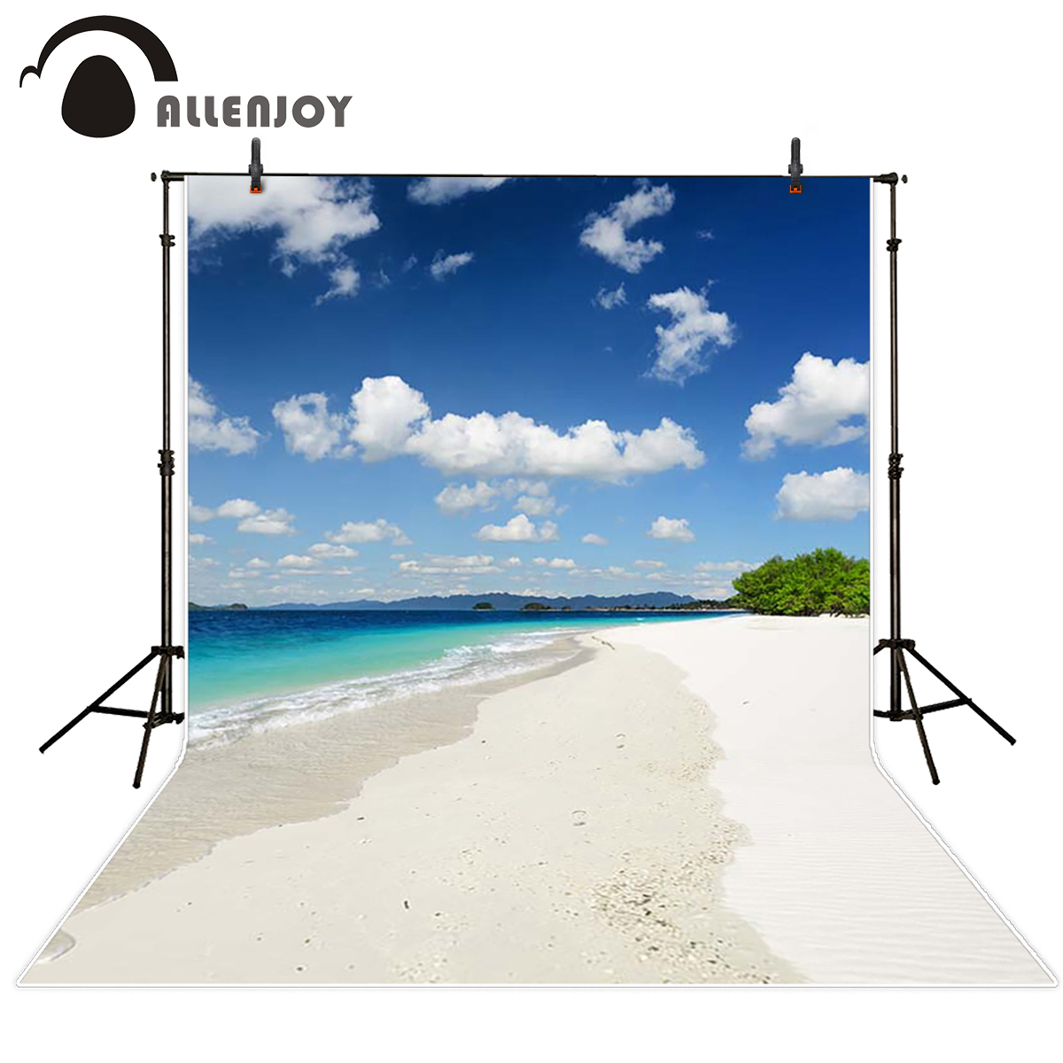 Allenjoy seaside Photo background Island white sand beach sea tree sky mountain photography backdrops vinyl photographic