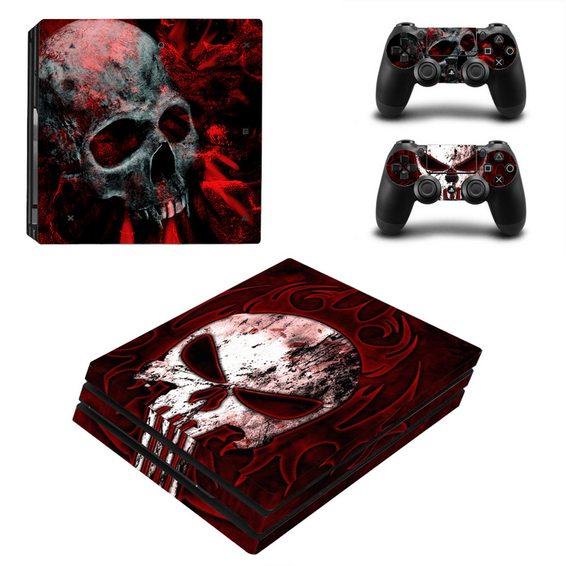 Skull Design Protector Skin Sticker Cover Wrap For Sony Playstation 4 Pro Console & 2PCS Controller Skin Decal For PS4 Pro