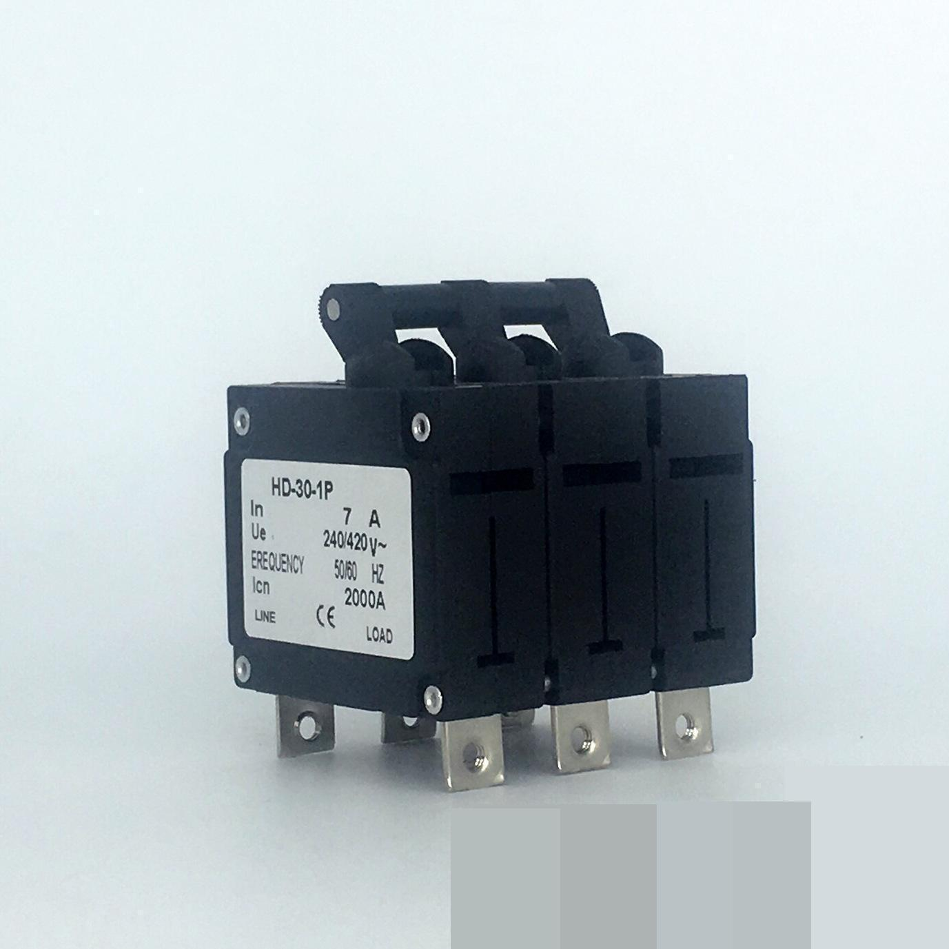 10pcs Hydraulic electromagnetic circuit breaker hd-30 3P/7A device protects the over-magnetic circuit breaker new ezd100e 3p 80a ezd100e3080n plastic breaker