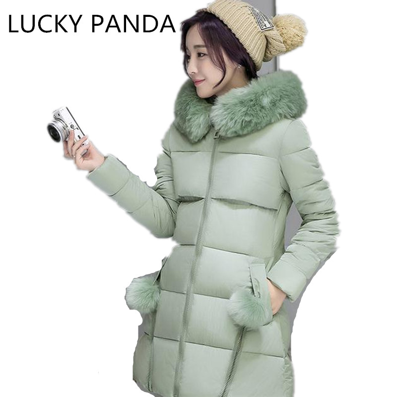LUCKY PANDA 2016 WOMAN Winter cotton thickened slim slim down in the long coat coat of students LKB187 the woman in the photo