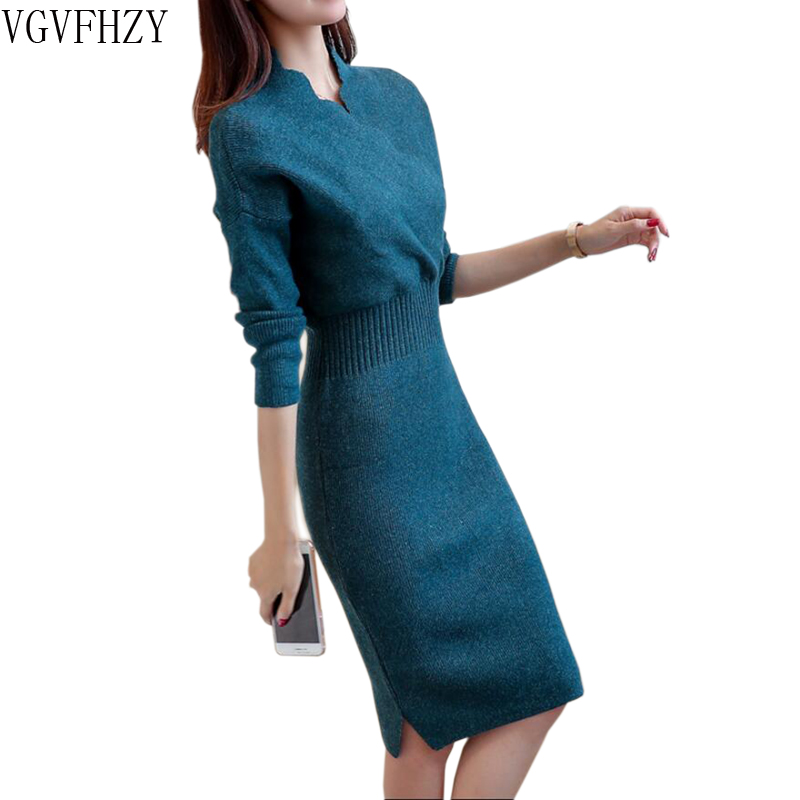 2018 Autumn Winter Womens Fashion Sexy Slim Cross V Neck Sweater Dresses Female Long Sleeve Knitted