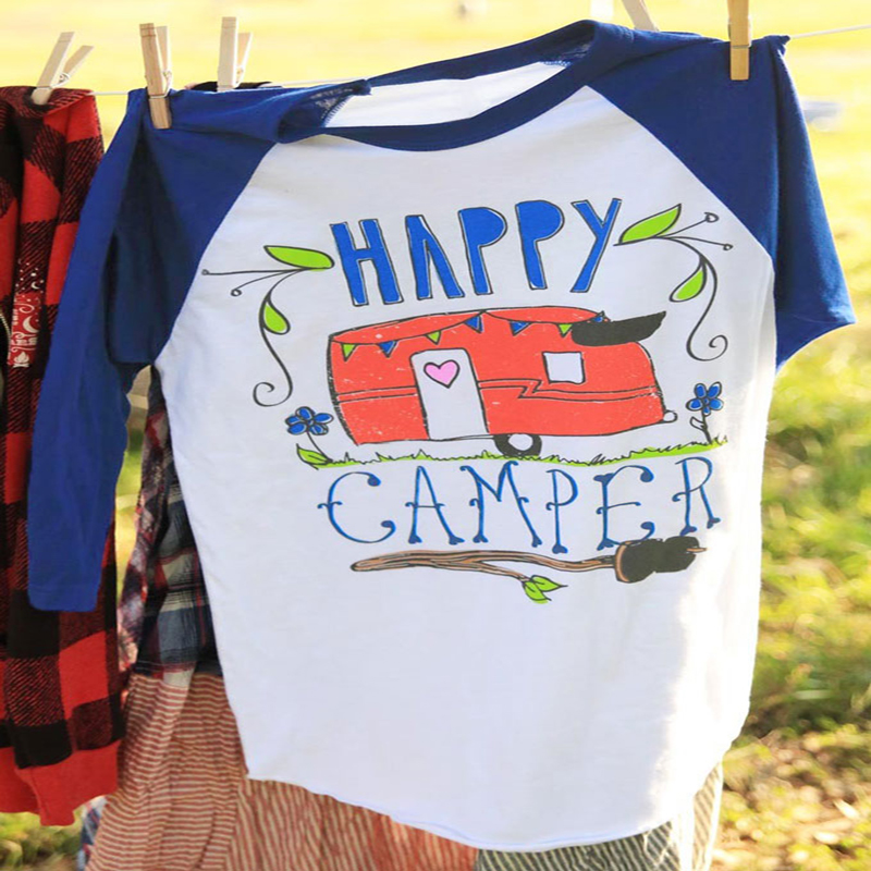 Chulianyouhuo Happy Camper Բեյսբոլ Full T Shirt Summer Lady - Կանացի հագուստ