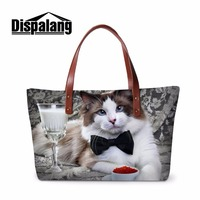 Dispalang Famous Brand Top handle Bag Funny Pet Cat Prints Women Handbags For Working Female Big Tote Bag Shoulder Beach Bag