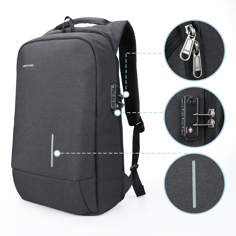 Kingsons 2018 New 15' External USB/Passwork L Charging Laptop Backpacks School Backpack Bag Men Women Travel Bags KS3149W-B 2017 new masked rider laptop backpack bags cosplay animg kamen rider shoulders school student bag travel men and women backpacks