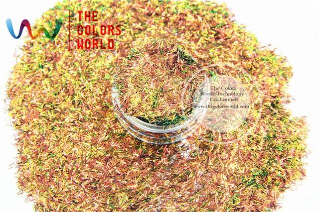 TCR404 Tira de color Iridiscente lustre de Oro Rojo Con Verde corta bar forma 0.2*3 MM Tamaño del brillo para el Arte de uñas y BRICOLAJE decoración