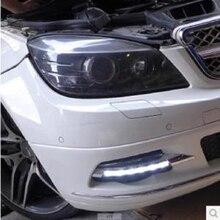 Автомобильные мигающие 2 для Mercedes benz W204 C180 C200 C260 C250 C300 2008 2009 2010 светодиодсветодиодный дневные ходовые огни дневной свет Противотуманные фары