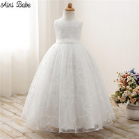Aini Babe White First Communion Dresses For Girls Tulle Lace Infant Toddler Pageant Flower Girl Dresses