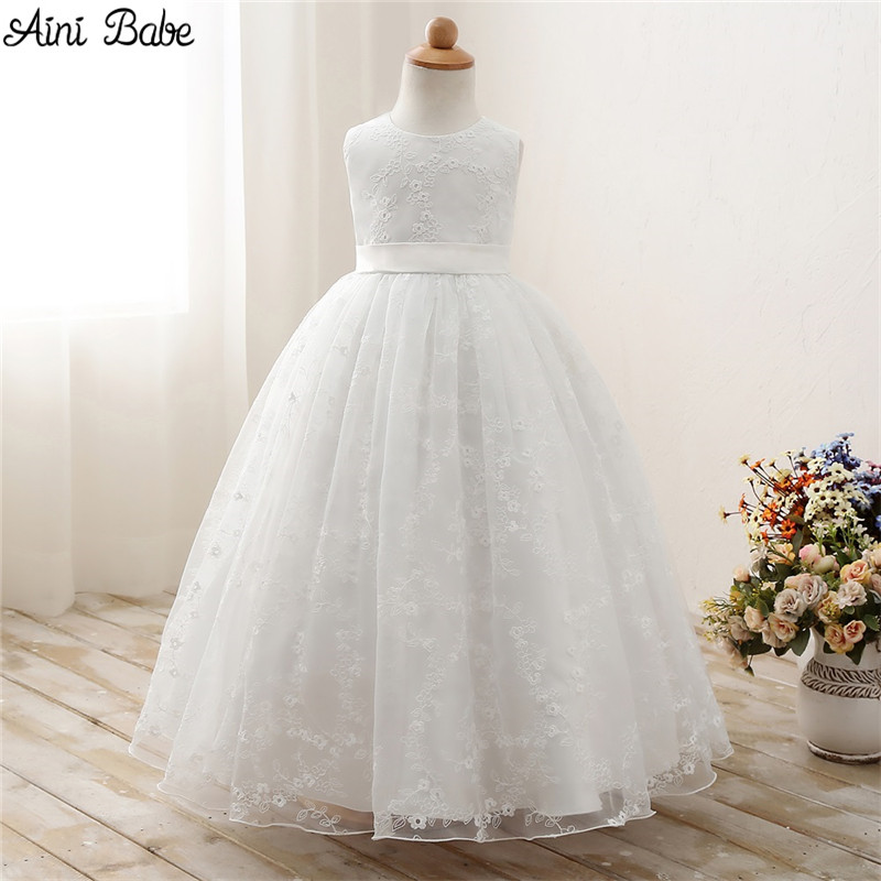 Aini Babe White First Communion Dresses For Girls Tulle Lace Infant Toddler Pageant Flower Girl Dresses for Wedding and Party 1 12t pink lace long trailing wedding dress flower girl dresses appliques first communion dresses for girls pageant dresses