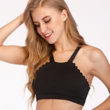купить Sexy Backless Lace Sports Bra Top High Neck Fitness Bras Seamless Gym Sport Top Padded Yoga Bras Push up Running Underwear дешево