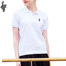 2019 Womens Summer Cotton Short Sleeve Turnshirt Golf Embroidery Peacock Mark POLO Shirt Q11
