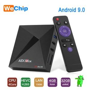 Wechip A5X MAX 4G + 32G Smart Android 9,0 caja de TV RK3318 Quad-Core 4K DH 3,0 USB 2,4G Wifi inalámbrico Set Top Box