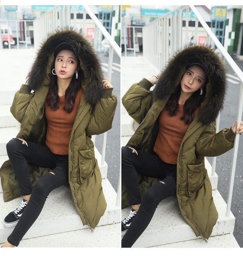 Maternity winter coat 2017 down jacket women long section loose thick Real fur collar Look thin Warm pregnant women Coat Gray new army green long raccoon fur collar coat women winter real fox fur liner hooded jacket women bomber parka female ladies fp890