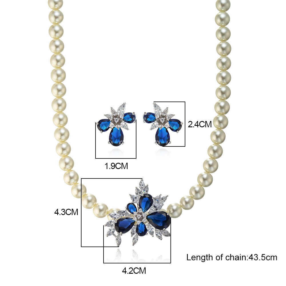 Viennois Blue Zircon Rhinestone Plated Simulated Pearl Jewelry Set For women Wedding Rhinestone Paved Bridal Jewelry