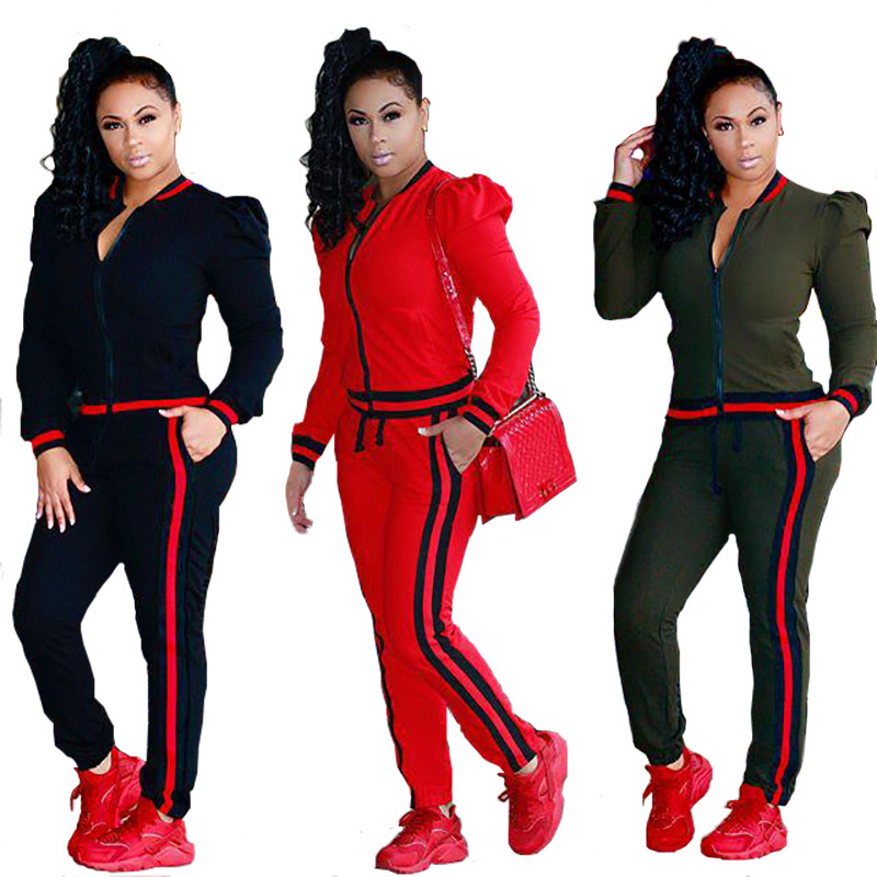 Spring Autumn Tracksuit Long Sleeve Sweatshirts Casual Suit Women Clothing 2 Piece Set Lantern Sleeve Tops+Pants Sports Suit