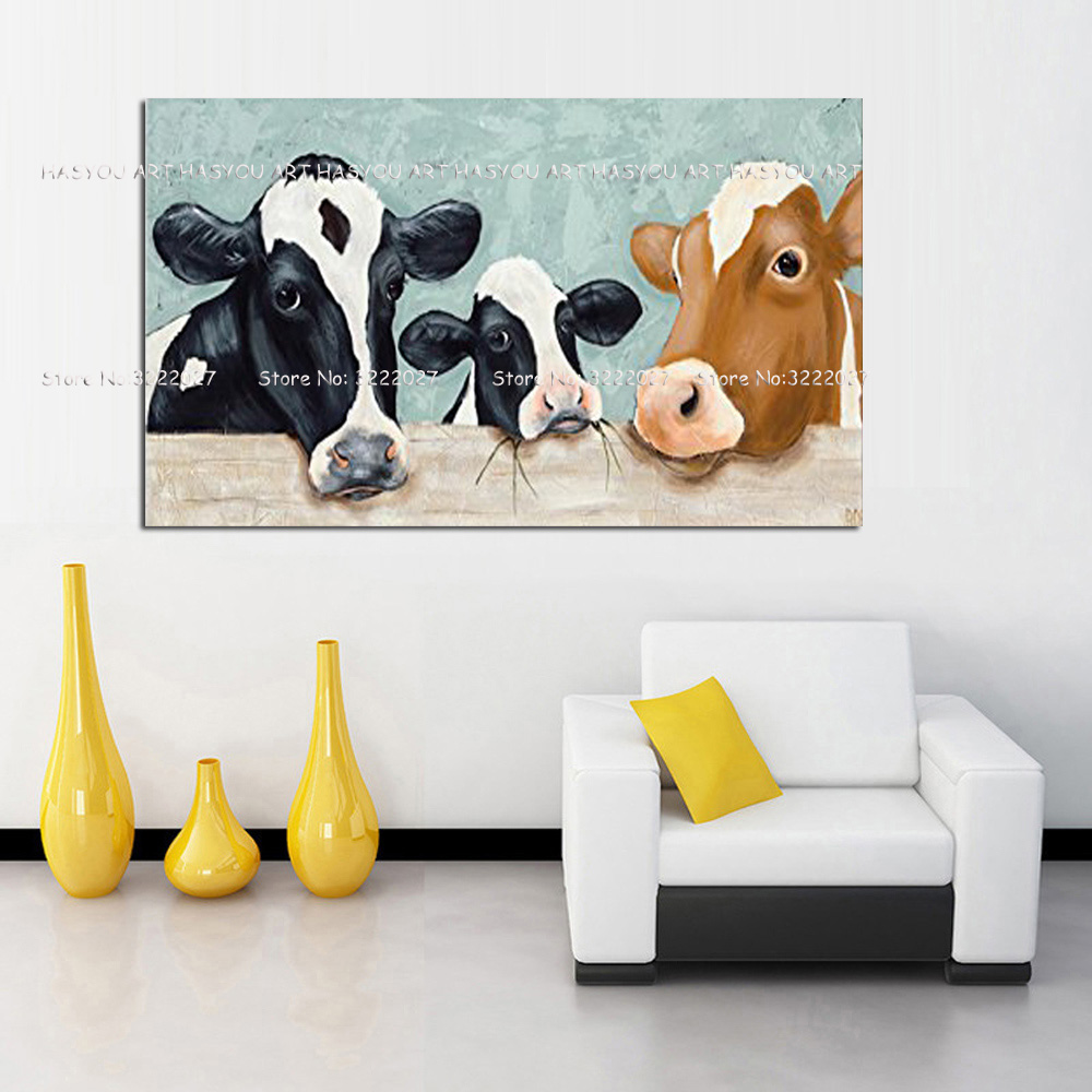Abstract Painting Animals Canvas Painting Giraffe cows Art Canvas Poster hand painted Wall Pictures For Living Room Home Decor in Painting Calligraphy from Home Garden