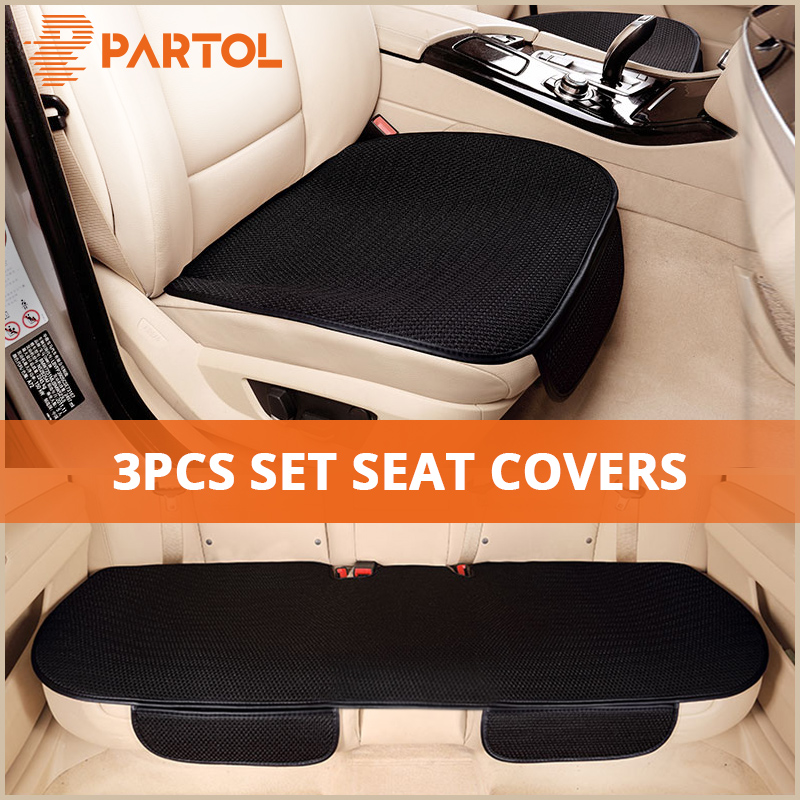 Partol Universal Car Seat Covers Auto Seat Protector Front Rear Automobile Seat Cushion Pad Accessories Red Black Beige Coffee цена