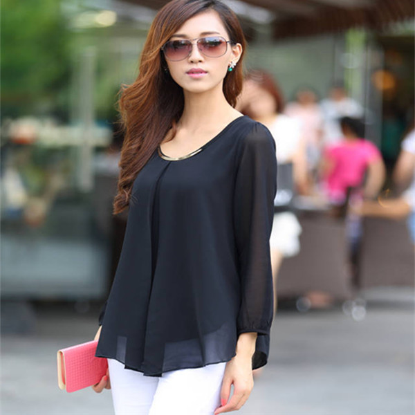 New Arrivals 2015 Women Plus Size Brand Long Sleeve Casual Chiffon