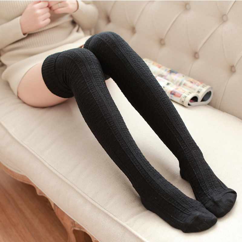 1 Pair Women Girl Over Knee High Socks Spring Autumn -1645