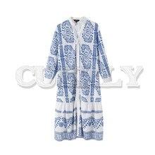 CUERLY women V neck print midi dress three quarter sleeve pockets female casual mid calf dresses vintage straight vestido 2019