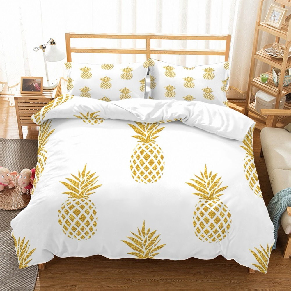 3D Dazzling Gold Pineapples Printed Background White Duvet Cover Bedding Set Tropical 3 Piece Fruits Theme Home Duvet Cover Set