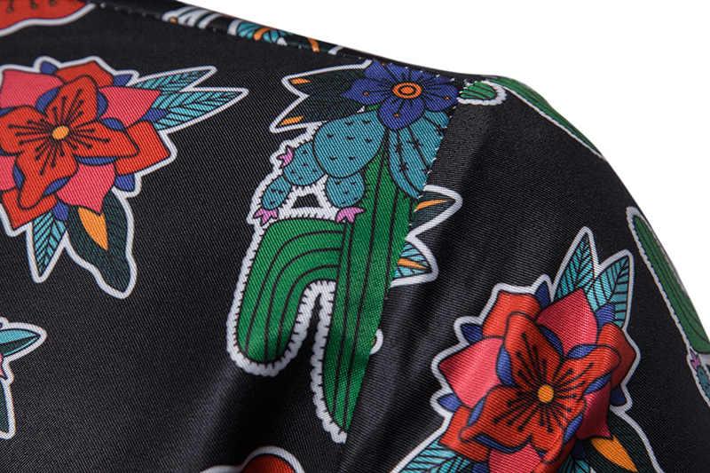 Цветочная гавайская рубашка 2019 летняя новая приталенная Мужская рубашка с коротким рукавом Повседневный вечерний праздничный мужской костюм Camisa Social Masculina