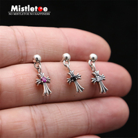 Authentic 925 Sterling Silver Vintage Punk Cross Flower With Red Black Clear CZ Stud Earrings For