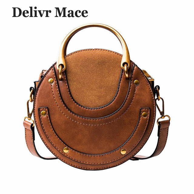 Bags For Women 2018 Leather Round Metal Women Handbag Shoulder Bags Gift Brown Rivet Messenger Bag Women Korean Ladies Handbags
