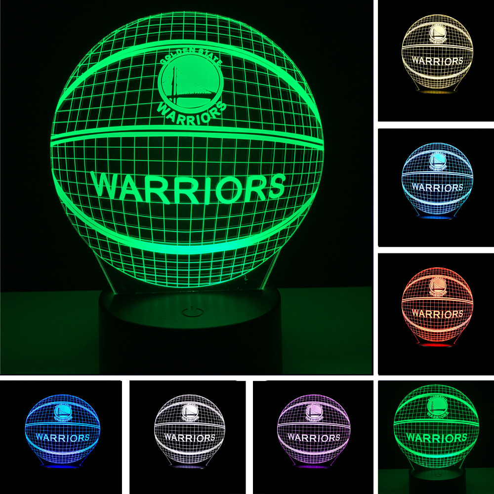 NBA Logo Golden State Warriors LED 3D Night Light 7 Colors Changing Sleeping Table Desk Lampe Lamp Bedroom Sports Fans Decor