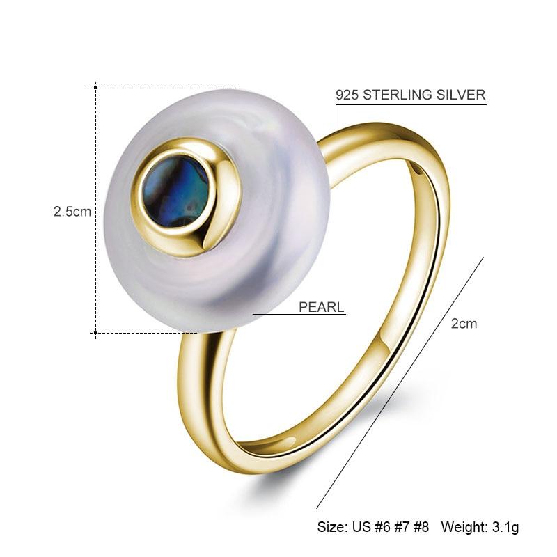 Hongye Hot 100% Natur Pearl Ringe 925 Sterling-Sølv-Smykker, Oblate - Smykker - Foto 4