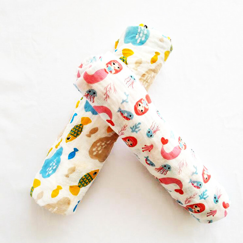 Baby Muslin Blanket Swaddle Bedding Cartoon Printed 100% Cotton Blankets Soft Breathable For Newborn Toddler 100x140cm